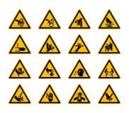 Dreieckige warnende Gefahrensymbolaufkleber lokalisieren auf weißem Hintergrund, Vektor-Illustration vektor abbildung