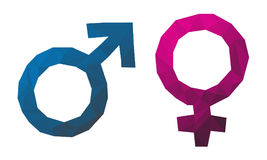 Dreieckiges Geschlechtssymbol Männlich-weiblich Rote und blaue Ikonen stock abbildung