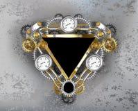 Dreieckiges industrielles Fahne Steampunk-Nummernschild Stockfotografie