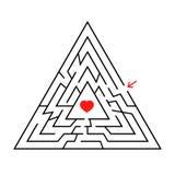 Dreieckiges Labyrinth mit einem Input und einem Ausgang Einfache flache Vektorillustration lokalisiert auf weißem Hintergrund Mit Lizenzfreie Abbildung