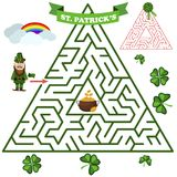 Dreieckiges Labyrinth- oder Labyrinthrätselspiel Labyrinth Rebus für Kindervektorillustration Stockfotografie