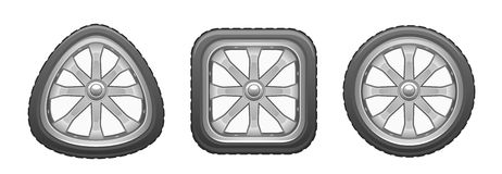 Dreieckiges quadratisches rundes Rad stock abbildung