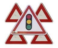 Dreieckiges Zeichen der Ampeln Lizenzfreies Stockbild