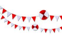 Dreieckpapierhängen am Seil Stockbild