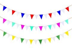 Dreieckpapierhängen am Seil Lizenzfreie Stockbilder