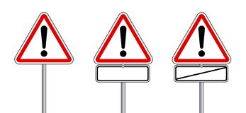 DreieckVerkehrszeichen für das Warnen mit freiem Raum Deutsche Übersetzung: Verkehrsschilder stellte - ohne Achtung Gefahrenstell stock abbildung