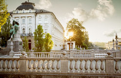 Dreifache Brücke in der alten Stadt von Ljubljana, Slowenien Lizenzfreies Stockbild