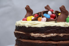 Dreifache Torte Schokolade Nutella Ostern Stockfoto