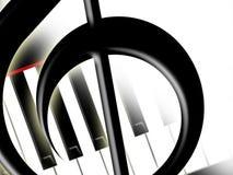 Dreifacher Clef und Tasten des Klaviers Stockfotos