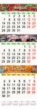 Dreifacher Kalender für drei Monate 2017 mit verschiedenen farbigen Bildern Stockfoto