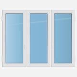 Dreifaches Flügelfensterplastikfenster Stockfoto