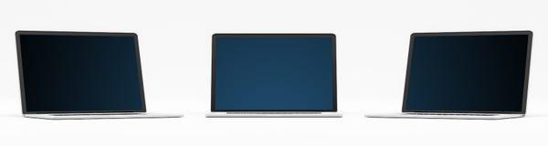 Dreifaches modernes digitales Silber und schwarze Wiedergabe des Laptops 3D Stock Abbildung