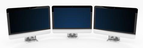 Dreifaches modernes Silber und schwarze metallische Wiedergabe des Computers 3D Lizenzfreie Stockfotos