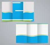 Dreifachgefaltete Geschäftsbroschürenschablone, blauer Designflieger Lizenzfreies Stockfoto