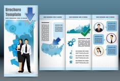 Dreifachgefaltete Geschäftsbroschüreschablone Lizenzfreie Stockfotos
