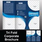 Dreifachgefaltete Unternehmensbroschüre Stockbild