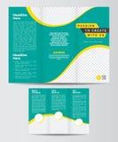 Dreifachgefaltete Unternehmensbroschüren-Entwurf-Schablone Front und Backe Stockfotos