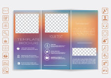 Dreifachgefalteter Broschürenspott herauf Vektordesign Glatter unfocused bokeh Hintergrund Stockbild