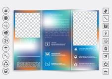 Dreifachgefalteter Broschürenspott herauf Vektordesign Glatter unfocused bokeh Hintergrund Lizenzfreie Stockfotos