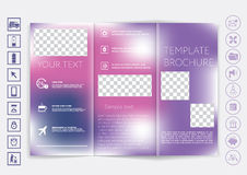 Dreifachgefalteter Broschürenspott herauf Vektordesign Glatter unfocused bokeh Hintergrund Stockfotografie