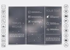 Dreifachgefalteter Broschürenspott herauf Vektordesign Glatter unfocused bokeh Hintergrund Lizenzfreies Stockfoto