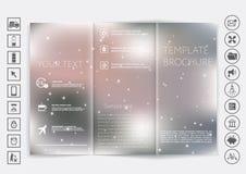 Dreifachgefalteter Broschürenspott herauf Vektordesign Glatter unfocused bokeh Hintergrund Stockfotos