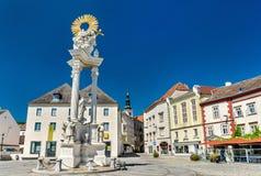 Dreifaltigkeitssäule in Krems ein der Donau, Österreich Lizenzfreies Stockfoto