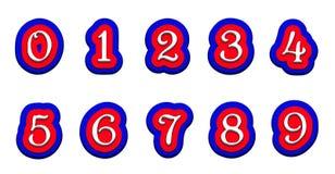 Dreifarbige Bandnummern auf einem weißen Hintergrund vector Illustration Lizenzfreie Stockfotos
