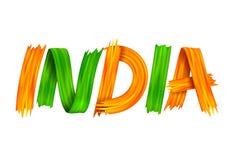 Dreifarbige Fahne des Acrylbürstenanschlags mit indischer Flagge für 15. August Happy Independence Day von Indien-Hintergrund lizenzfreie abbildung