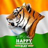 Dreifarbige indische Fahne für 15. August Happy Independence Day von Indien stock abbildung