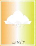 Dreifarbige Reise Indien-Plakat Lotus-Tempels Stockfotografie
