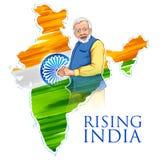 Dreifarbiger Flaggenhintergrund Indien-Karte mit stolzen indischen Leuten lizenzfreie abbildung
