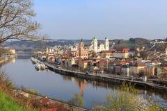 Dreiflà ¼ssestadt Passau Arkivfoton