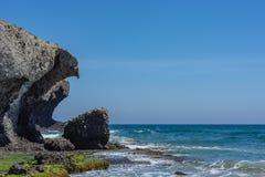 Dreigende dierlijk-gevormde rots op het strand stock foto