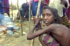 Dreigende hongersnood in Verafgelegen door klimaatverandering Stock Afbeelding