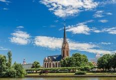 Dreikoenigskirche kyrka, Frankfurt, Tyskland Arkivbilder