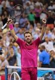 Dreimal Grand Slam-Meister Stanislas Wawrinka von der Schweiz feiert Sieg nach seinem Endspiel an US Open 2016 Stockfotografie