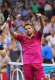 Dreimal Grand Slam-Meister Stanislas Wawrinka von der Schweiz feiert Sieg nach seinem Endspiel an US Open 2016 Lizenzfreie Stockfotos