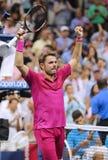 Dreimal Grand Slam-Meister Stanislas Wawrinka von der Schweiz feiert Sieg nach seinem Endspiel an US Open 2016 Stockfoto