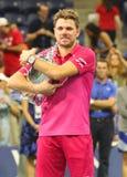 Dreimal Grand Slam-Meister Stanislas Wawrinka von der Schweiz während der Trophäendarstellung nach seinem Sieg an US Open 2016 Lizenzfreies Stockbild