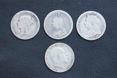 Dreipencestück, Victoria, Edward, britisch. Stockfotos