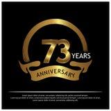 Dreiundsiebzig Jahre Jahrestag golden Jahrestagsschablonenentwurf für Netz, Spiel, kreatives Plakat, Broschüre, Broschüre, Fliege stock abbildung