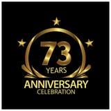 Dreiundsiebzig Jahre Jahrestag golden Jahrestagsschablonenentwurf für Netz, Spiel, kreatives Plakat, Broschüre, Broschüre, Fliege vektor abbildung