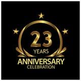 Dreiundzwanzig Jahre Jahrestag golden Jahrestagsschablonenentwurf für Netz, Spiel, kreatives Plakat, Broschüre, Broschüre, Fliege stock abbildung