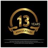 Dreizehn Jahre Jahrestag golden Jahrestagsschablonenentwurf für Netz, Spiel, kreatives Plakat, Broschüre, Broschüre, Flieger, Zei vektor abbildung