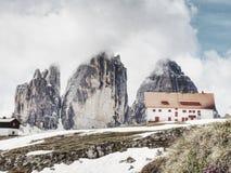 Dreizinnenhutte, Italy. May 26 2018. Tourist chalet stock photography