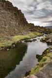 Drekkingarhylur, een pooll in Thingvellir, IJsland, aan execut wordt gebruikt die royalty-vrije stock afbeelding