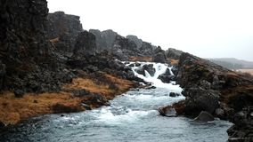 Drekkingarhylur waterfall near ingvellir beautiful shot. shoot 1080. Shoot in 1080 stock video footage