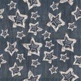 Drelich gwiazdy Na Drelichowej tekstury Bezszwowym wzorze Zdjęcia Royalty Free