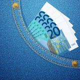 Drelich kieszeń i 20 euro banknotów Zdjęcia Royalty Free